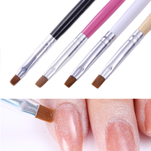 Wood Handle Powder Dust Clean Nail Brush Acrylic Drawing Painting Cleaning Flat Pen Manicure Nail Art Tool Brush(China)