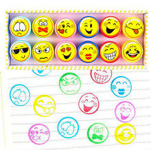 12pc/lot 100% good quality Fruit smiling cartoon self inking stamp set gift for kids scrapbooking DIY decoration