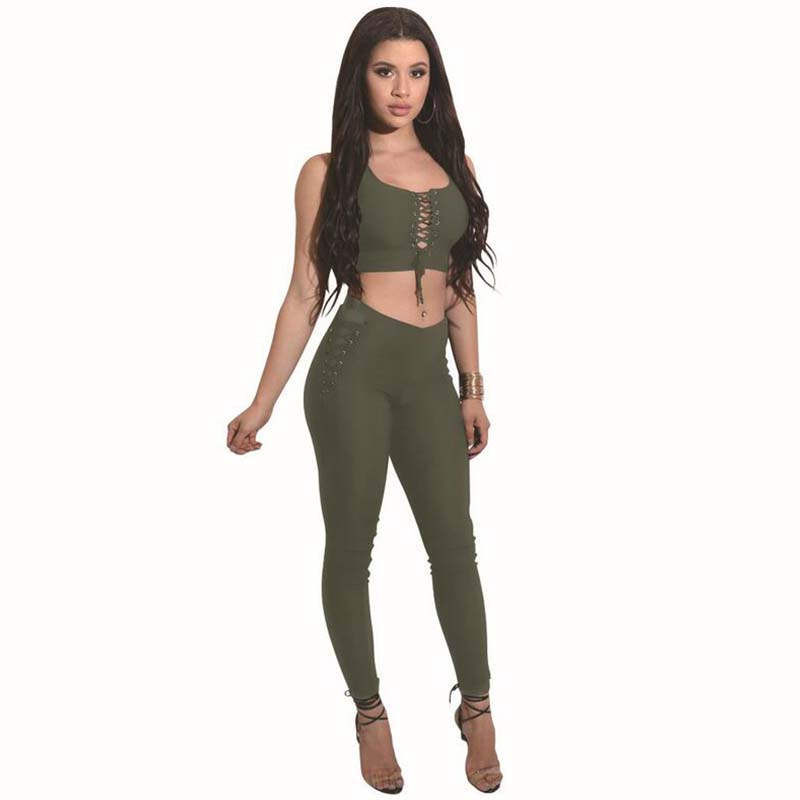 Sexy Fashion Two Piece Set Women Top And Pants 17 Summer Elasticity Women Slim Crop Tops+Slim Long Laced Pants Women's Suit 4