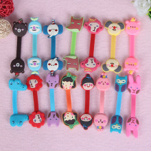 30pcs/lot Cute Cartoon Anime Mobile Phone USB Cable Button Organizer Wire Protector Earphone Holder Kawaii line Winder