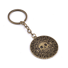 Pirates of the Caribbean Key chains Aztec Coin Skull Pendant Key rings Jewelry For Men Women fashion Jewelry(China)
