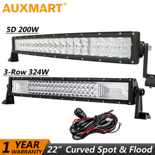 Auxmart LED Light Bar 22 Inch 3-Row 324W Curved 5D 200W Offroad Driving LED Work Light Bar Combo beam SUV ATV Truck 4x4 Pickup(China)