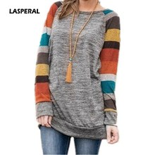 LASPERAL 2017 Autumn Winter Tee Shirt Women Long Sleeve O Neck Striped Patchwrork T-Shirt Casual Loose Soft Warm Slim Tee Tops(China)