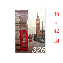 NO.326,London/Red telephone booth/Famous design view/kraft paper/Wall stickers/Retro Bar Poster/decorative painting30x42cm(China)