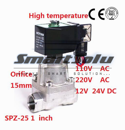 Free shipping2 way SS304 high temperature steam electromagnetic solenoid valve water 1 110V AC Orifice 25mm normal close SPZ-25<br><br>Aliexpress