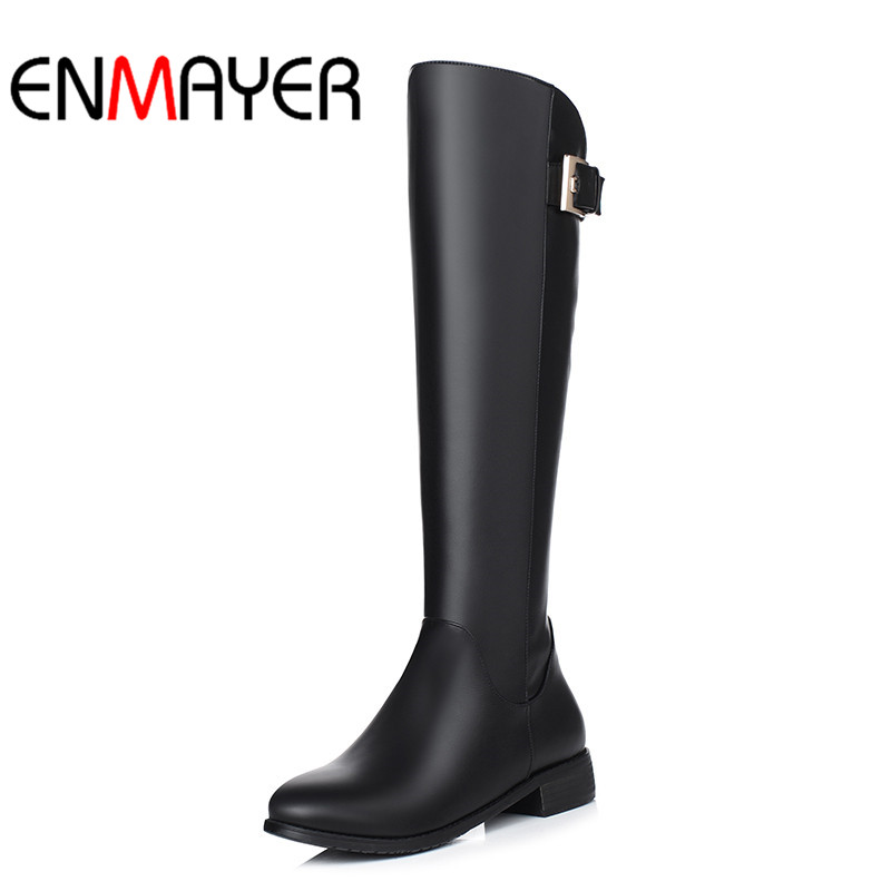 ENMAYER Winter Long Boots Plush Warm Fur Women PU Shoes Handmade Black Knee-High Boots Footwear Snow Russia Zipper Botas<br>