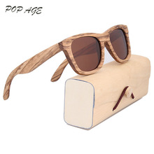 Mens Luxury Brand Real Zebra Wooden Sunglasses Frames Custom Logo Bamboo Sunglasses Men Polarized UV400 Lens Sunglass