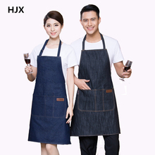 simple antifouling kitchen denim work apron for women and man Cowboy apron restaurant Chef Cooking pinafore Delantal Tablier