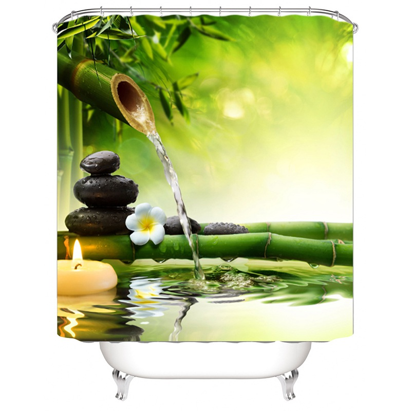 2018 Bamboo Pattern Polyester Bathroom Waterproof Shower Curtains