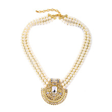 Well Suited  Resin Made Imitation Pearl Necklace For Women Multilayer Chain Rhinestone Pendants Necklaces Brilliant Jewelry