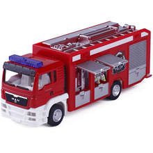 RMZ 1:64 Fire Engine Model Alloy Car Toy Fire Truck Water-Tank Lorry Children's Favorite Toys Holiday Gift Toy Vehicles Kids(China)