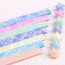 Glow in Dark Lucky Star Origami Folding Plastic Strip Paper Lovely Heart Design(China)