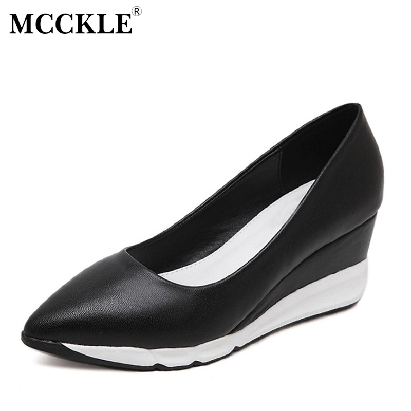 MCCKLE Woman Fashion Wedges Shoes Platform Leopard Comfortable Pointed Toe Slip On Casual Sexy Black Vogue Womens Style Shoes<br>