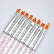 8pcs/set Nail Art Brush Acrylic Powder French Gradient Color Moon Polish Tips Decoration Design UV Gel Painting Drawing Pen Tool(China)