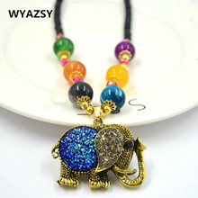 Fashion Metal Big Elephants Sweater Chain Chic Austria Crystal Luxury Roses Necklace Speak of Love in Your Heart For Women Gifts(China)