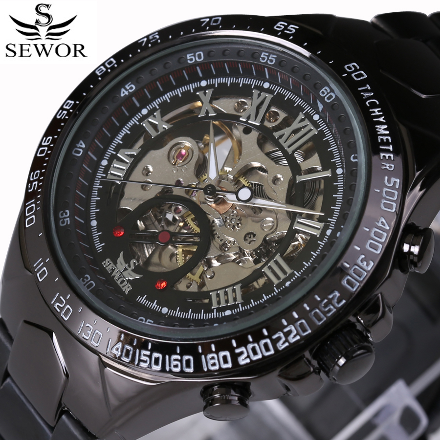 Luxury Brand Automatic Mechanical Watch For Male Skeleton Lettering Dial Military Sports Watches Black Stainless Steel Strap<br><br>Aliexpress