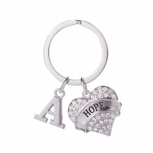 Skyrim Rhinestone keychain Inspirational HOPE 2017 Heart Key Chain personalized 26 alphabet Initial bag charm keychain wholesale(China)