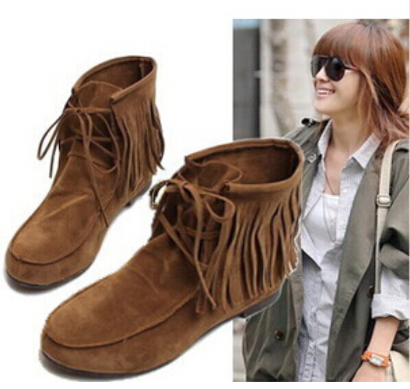 Fashion Autumn Winter Women Boots Hidden Increasing Height Shaft Height Ankle Boot Flats Tassels Boots Shoes Woman Free Shipping<br><br>Aliexpress