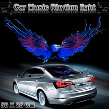 50x25cm Eagle Vehicle Rear Windshiel Sticker Sound Activated Equalizer Music Rhythm LED Flash Light Lamp #2294