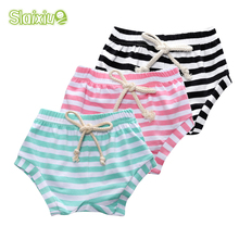 SLAIXIU Summer Spring Cotton Childrens Beach Pants Boys Girls Shorts Infants Baby Short Striped Kids Trousers Toddler Clothing
