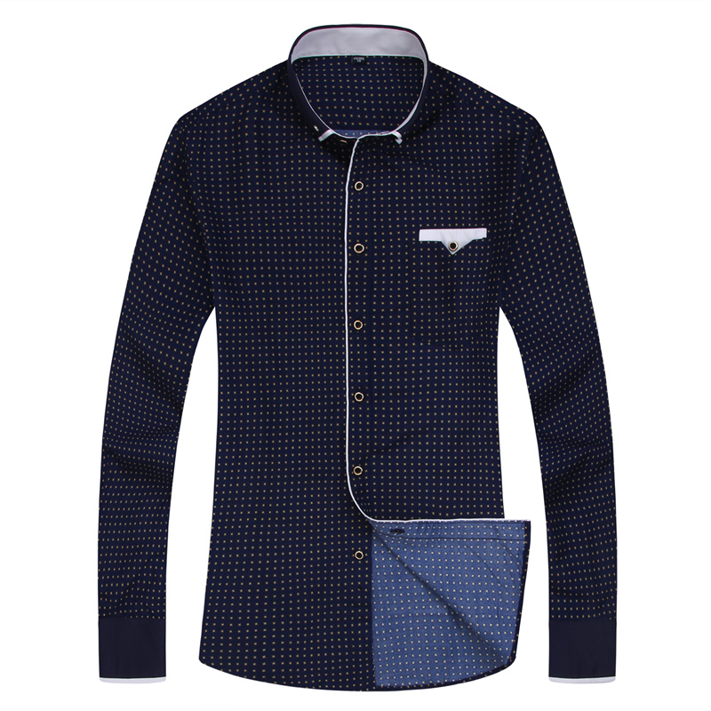 19 Men Fashion Casual Long Sleeved Printed shirt Slim Fit Male Social Business Dress Shirt Brand Men Clothing Soft Comfortable 11