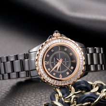 Luxury Channel Setting Crystal Ceramic Lady Women's Watch Fine Fashion Clock Hours Bracelet Girl's Gift Royal Crown Box