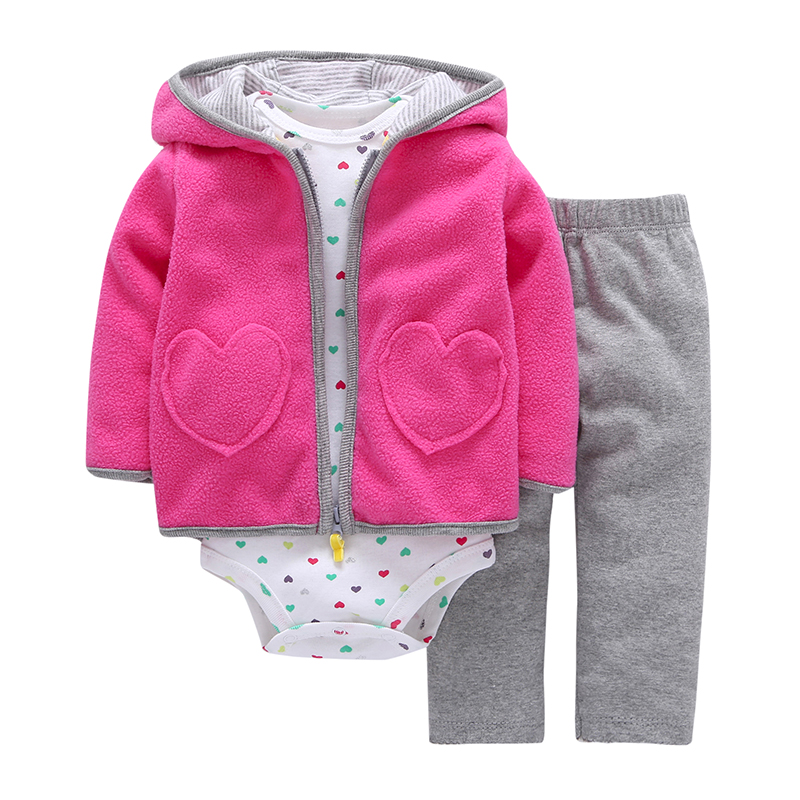 New Brand 3 Pieces Sets Fashion 2017 Baby Boy Girl's Style Regualr Full Sleeve Heart Hooded Coat+O-Neck One Piece Romper+ Pants(China)