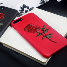 New Fashion Case for iphone 6 6S Elegant China Embroidery Retro Rose 4.7inch Soft Phone Bag Housing Cover Shell for iPhone 6S