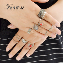 FANHUA 14 pcs/set Vintage Punk Midi Rings Set 2017 Antique Silver Color White Red Stone Sun Boho Knuckle Ring For Women
