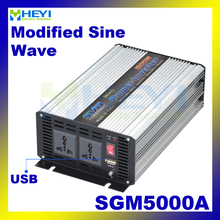Modified Sine Wave Inverter 5000W with USB input 12VDC 24VDC 48VDC output 110VAC 220VAC solar micro inverter(China)