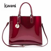 luxury designer Red Patent Leather Tote Bag Handbags Women Famous Brand Lady's Lacquered Handbag bags for Women Shoulder Bag Sac(China)
