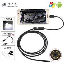 TRINIDAD WOLF 8mm Android USB Endoscope Camera 720P 1.3MP 6LED Flexible Endoscope Android OTG USB Borescope 1M/2M/5M For Samsung