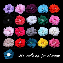 "(120pcs/lot)2"" 20 Colors DIY Mini Chiffon Flowers Whit Pearl Rhinestone For Girls Accessories New Hot Kids Hair Flowers"
