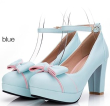 High quality sweet girls fashion high heels female large size 33-43 women platform shoes woman ladies ankle strap pumps BY17721(China)