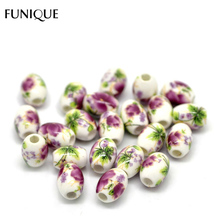 "FUNIQUE 50PC Flower Pattern Oval Ceramic Beads 10x8mm(3/8""x3/8"") Fit DIY 2016 New Fashion Women Bracelets &Necklace Jewelry Gift"