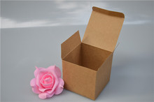 Size:8*8*8cm kraft paper perfume packaging box , kraft paper box window , paper gift packaging box