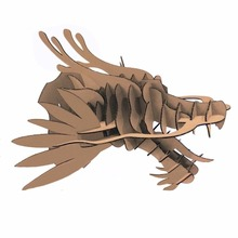 DIY Cool Dragon Head Wall Decoration 3d Puzzle Cardboard Animal Head Wall Mount Art Decor Hanging Creative Crafts for Home Gifts