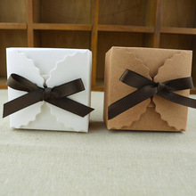 50Pcs Brown White Candy Box With Ribbon DIY Folding Party Wedding boda Decoration Gift Paper Favors Boxes for Wedding Decoration
