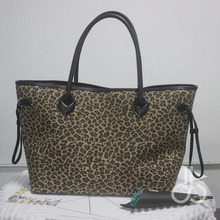 Black Handle Cheetah Patterns Cord Trim Canvas Tote Bag , Wholesale Leopard Large Pu Tote with Inside Zipper Pocket DOM-1010388B