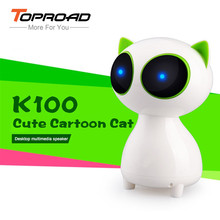 TOPROAD Desktop Multimidea Speaker Cartoon Cat Speakers LED Altavoz Portable Wired Stereo Caixa de som For SmartPhone Computer(China)