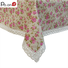 Pink Wedding Tablecloth Linen Cotton Rose Floral Printed Table Covers Lace Edge Table Cloth Rectangular Home Party Decoration(China)