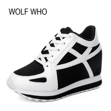 WOLF WHO Hidden Heels Platform Wedge Sneakers Women Shoes White Tenis Feminino Casual Krasovki Basket Femme X105(China)