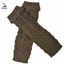 DOUDOULU Snowflakes deer Knitted Thicken winter over gaiters loose leg Jacquard Hollow Out Leg Warmers Socks Boot Cover Dropship