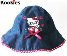 2-6 Years Baby Girls Summer Denim Sun Hat Cartoon Kitty Original Cotton Caps Baby Girls Bonnet
