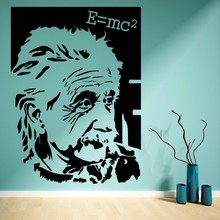 2017new Star Famous Portrait Alber Einstein E=mc2 Vinyl Wall Sticker Art Sticker Home Decor Living Room Bedroom Wall Mural M313