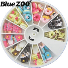 Ice Cream Doughnut Design Resin 3D Nail Decorations Wheel 48PCS Dessert Nails Tip Accessory Phone Decoration