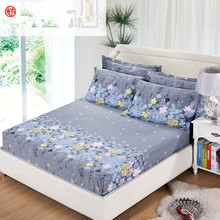 3pcs/set Bedding rubber fitted bed sheet +pillowcase gray flower elastic bed cover summer mattress cover bedclothes bedspread