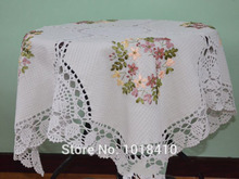 80*80cm(31.49in)Handmade crochet flower ribbon embroidery table cloth for christmas ancient white