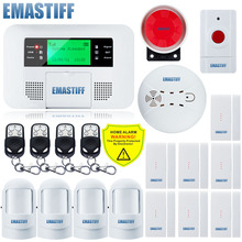 Free Shipping!Wireless GSM PSTN Alarm system Home Fire Smoke security Emergency button Alarm systems LCD Menu screen Keyboard