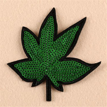 Clothes Accessories Sequins Iron on Patches For Clothing Animal Fashion T-shirt Sewing & Fabric Diy Patch Cute Leaf Logo(China)